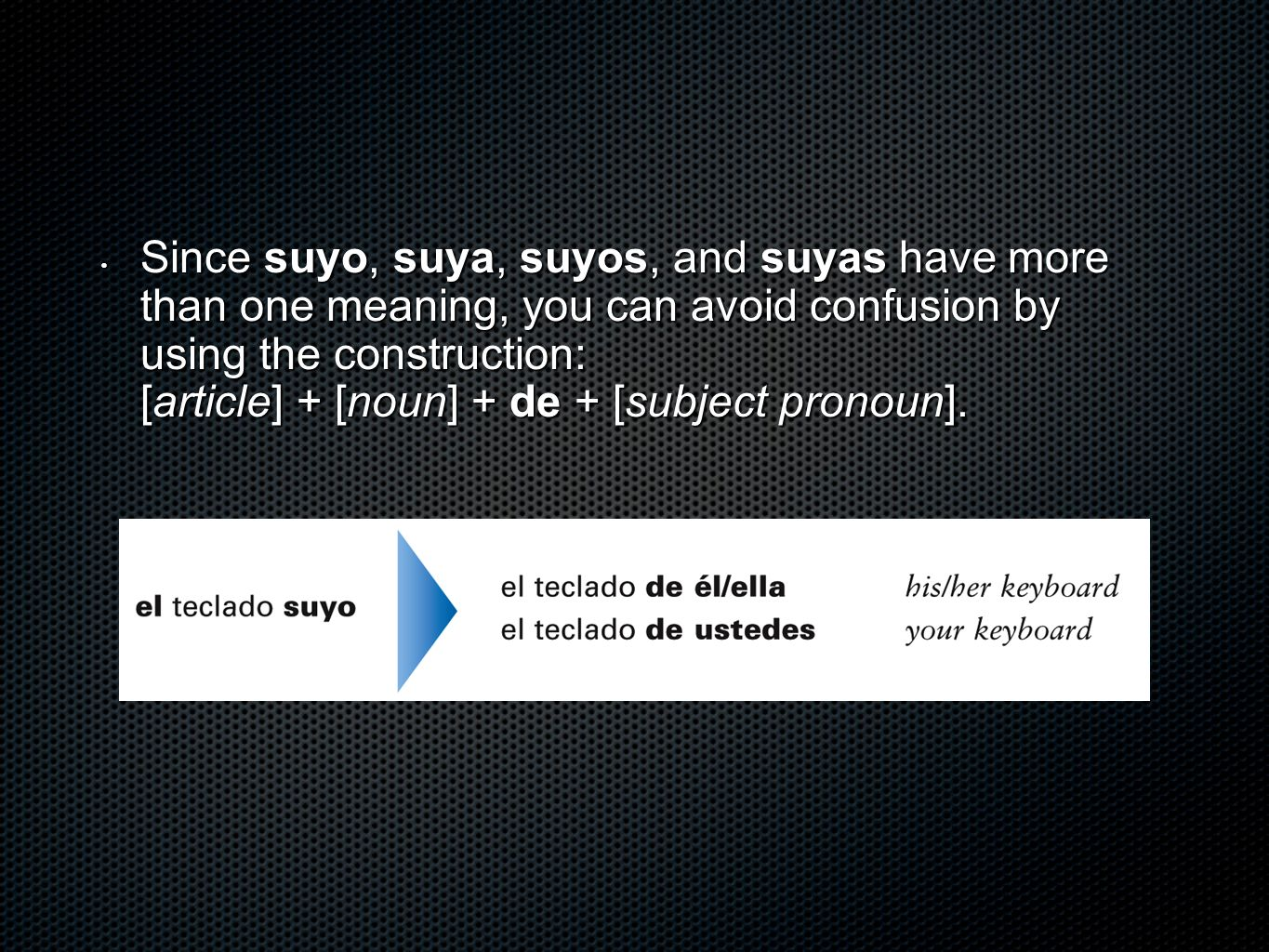 Since suyo, suya, suyos, and suyas have more than one meaning, you can avoid confusion by using the construction: [article] + [noun] + de + [subject pronoun].